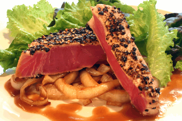 Pepper Seared Ahi with Brandied Brown Sauce