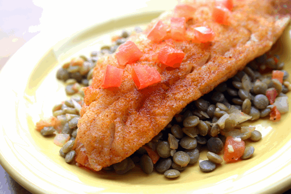 Rockfish with Smoked Paprika & Lentils