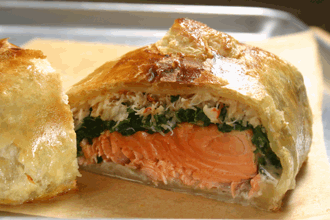 Salmon Wellington with Spinach and Dungeness Crab